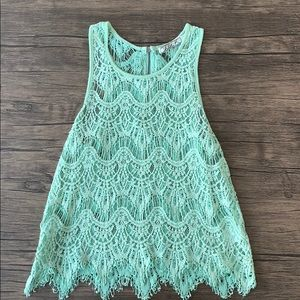 Teal string lace top